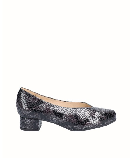 Gray snake engraved patent leather high heel lounge shoe