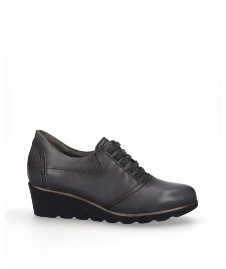 Zapato cuña piel gris con elástico