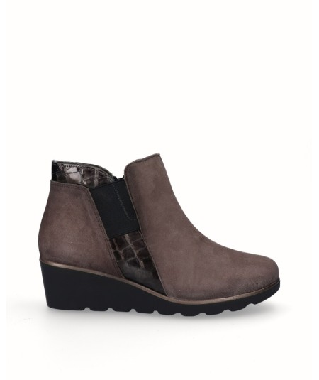 Suede leather wedge ankle boots combined with gray snake engraved leather